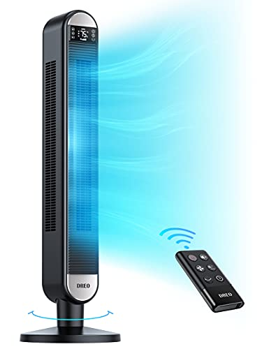Tower Fan with Remote - Dreo 90° Wide Oscillating Fans for Bedroom, 42 inch, 6 Speeds, 3+1 Modes,...