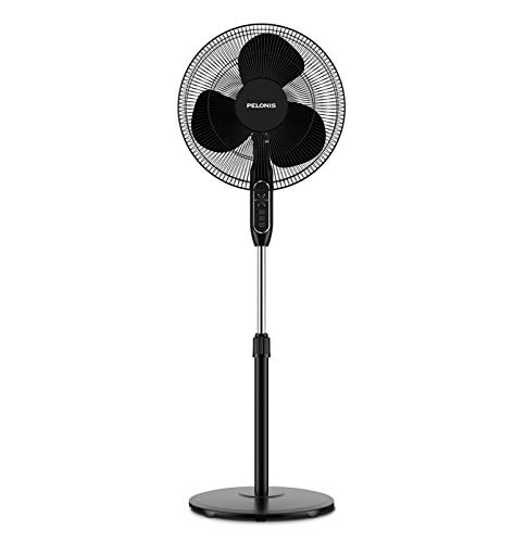 PELONIS 16'' Pedestal Remote Control, Oscillating Stand Up Fan 7-Hour Timer, 3-Speed and Adjustable...