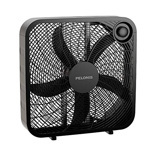 PELONIS PFB50A2ABB-V 3-Speed Box Fan for Full-Force Circulation with Air Conditioner, Black, 2020...