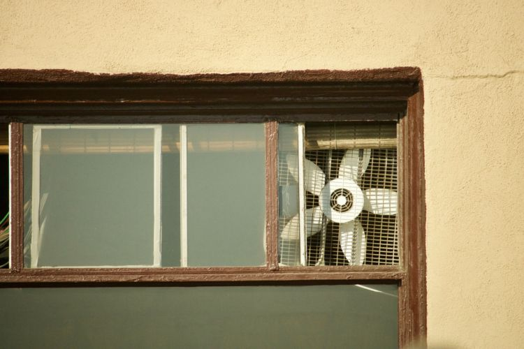 Box fan in the window
