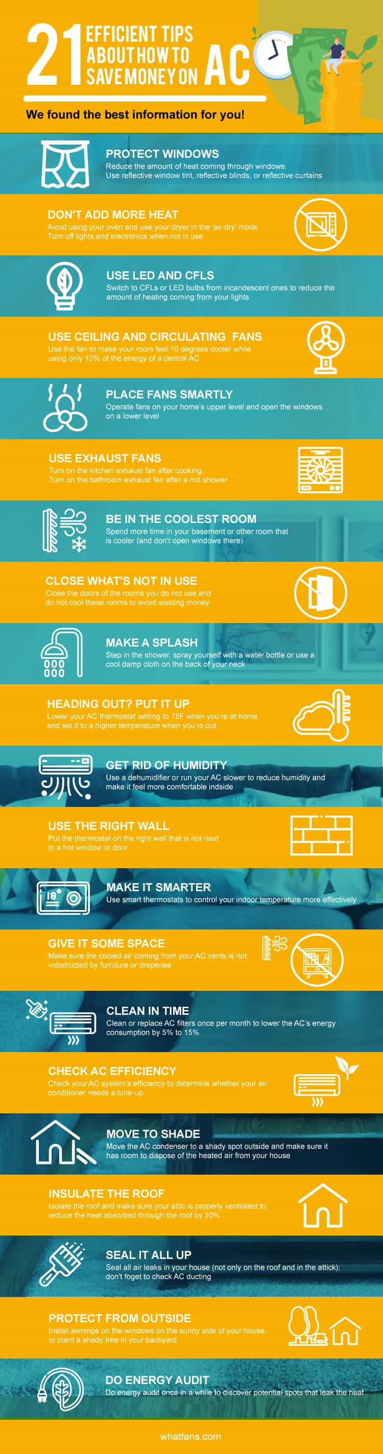 21 efficient tips about how to save money on AC infographic #energysaving #savingmoney #summertips #energysavingtips #coolingtips #homeimprovement #airconditioning #fan #fans #whatfans  #Infographic