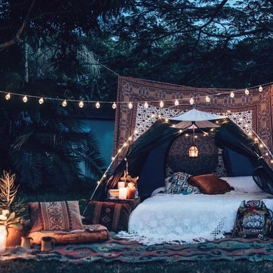 Sleep outside in hot nights; get inspired from this camping set up with a bohemian tent #tent #whatfans #summertips #coolingtips #energysaving #savingmoney #energysavingtips #homeimprovement #homeDecor #interiorDesign #bedroom #bed #backyard #backyarddesign #backyardGarden